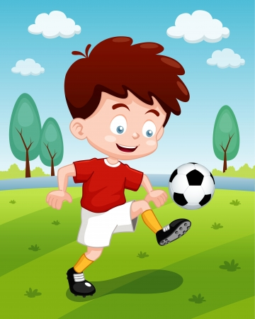 illustration of Cartoon boy playing soccer Vector