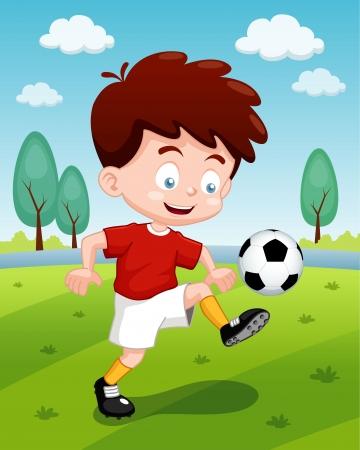 futbol soccer dibujos: ilustración de dibujos animados chico jugando al fútbol