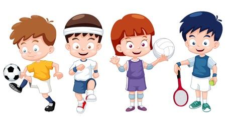 illustratie van het beeldverhaal kinderen sporten tekens