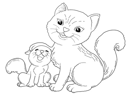 Coloring book - illustration of Cat and little cat Vector