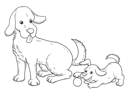 Coloring book - illustration of Dog and puppy Vector