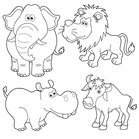 illustration of Wild animals cartoons outline Vector
