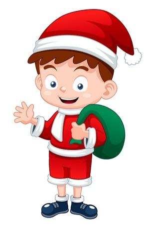 white bacjground: illustration of Little Santa Claus cartoon