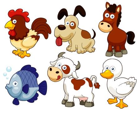 animales de granja: ilustraci�n de los animales de granja de dibujos animados Vectores