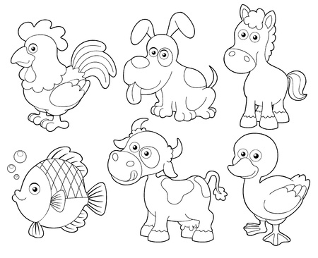 outline fish: illustration of farm animals cartoon Coloring book
