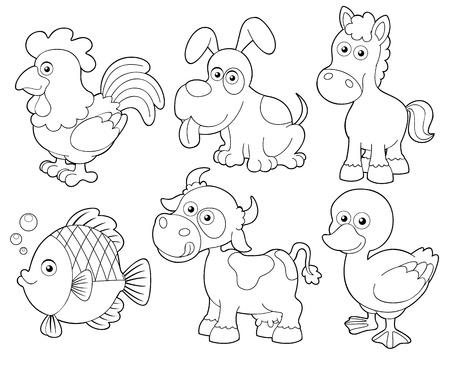 animales de granja: ilustraci�n de la granja de animales para colorear libro de dibujos animados Vectores