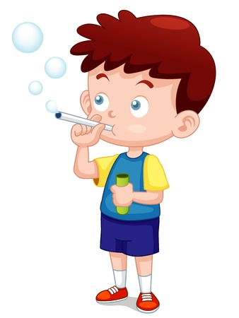 blows: illustration of Boy play bubbles pipe