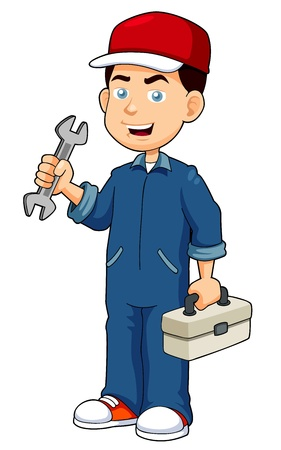 mekanik: illustration av Cartoon serviceman innehav verktygslåda