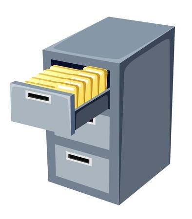 ilustración del gabinete de archivo con una abierta