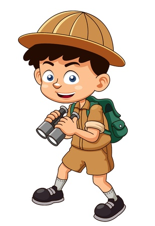kijker: illustratie van Boy scout met een verrekijker Stock Illustratie
