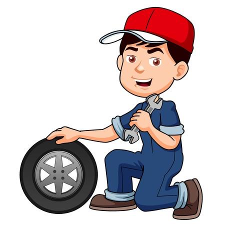 mekanik: illustration av Cartoon serviceman