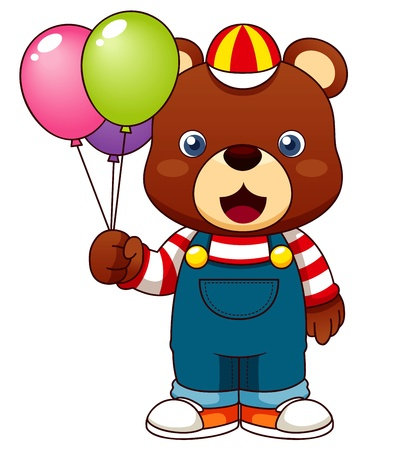 Illustration of Teddy bear with balloons Illustration