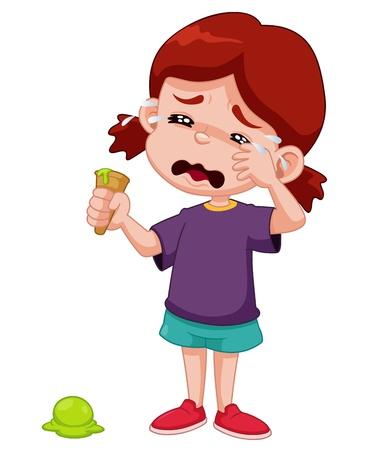 anger kid: Illustrazione di cartone animato ragazza piangere con gelato goccia Vettoriali