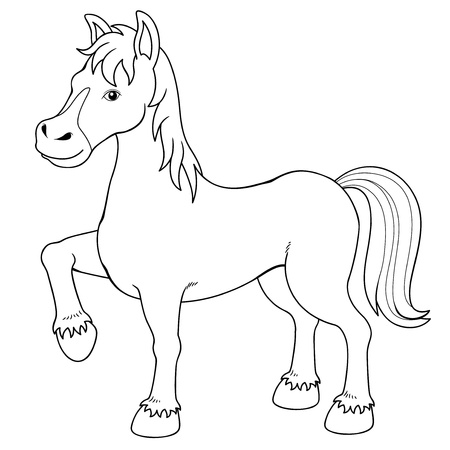 brown horse: Illustration of a horse Coloring book Illustration