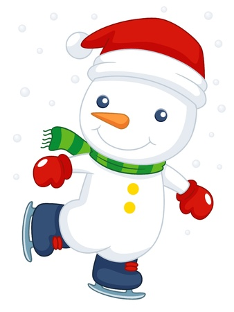 illustration of Cartoon snowman ice skating Vector