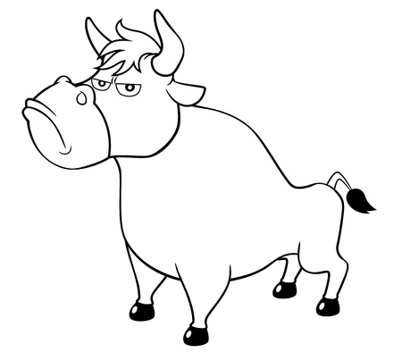 illustration of cartoon bull Coloring book Vector