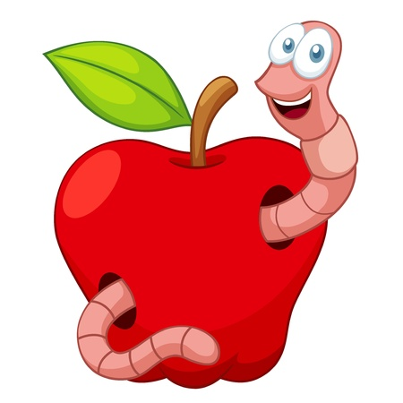 holzwurm: Illustration der Cartoon Worm In Apple