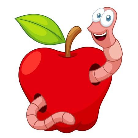 manzana: ilustración de dibujos animados Gusano En Apple