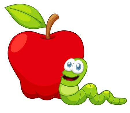 gusanos: ilustración de dibujos animados gusano con Apple