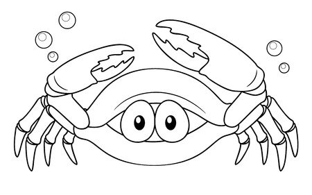illustration of Cartoon crab - Coloring book Vector