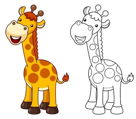 jirafa cute: ilustraci�n de dibujos animados jirafa Vector Vectores