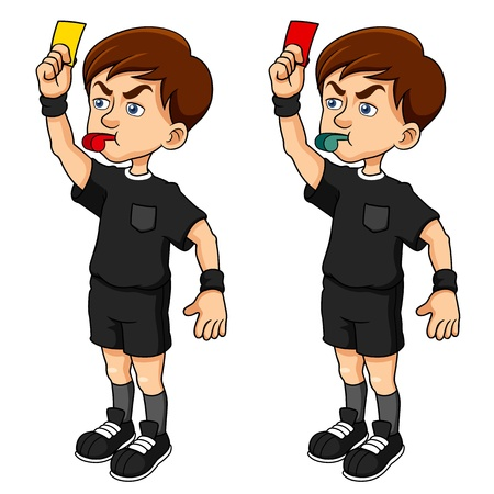 whistle: illustration of Cartoon Soccer referees holding red and yellow card