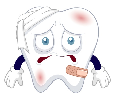 karies: illustration av Cartoon tand skadas