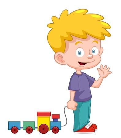 school cartoon: illustration of Cartoon boy with train toy