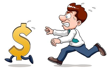 pursuing: illustration of Businessman pursuing monney