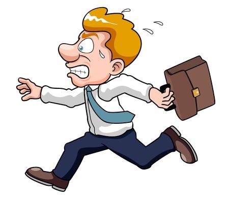 caricatura: ilustración del hombre de negocios es hora tarde