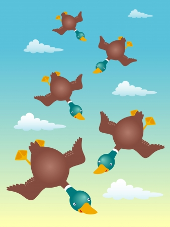 Illustration of ducks flying Stock Vector - 16835043