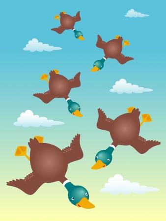 Illustration of ducks flying Stock Vector - 16835043