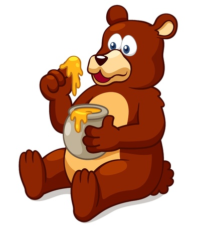 stuffed animals: Illustration of Bear eating honey vector
