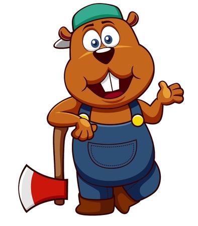biber: Darstellung Beaver mit Axt