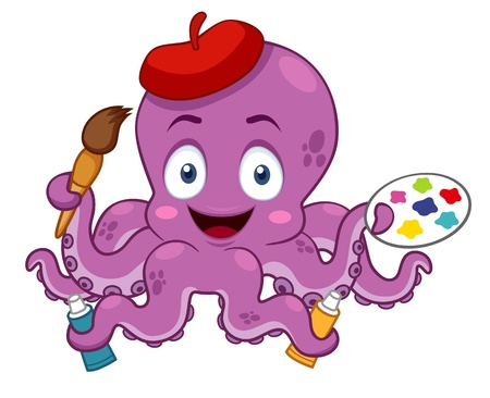 illustration of Cartoon Artist octopus Vector