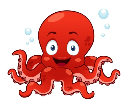 baby swim: illustration of Cartoon octopus