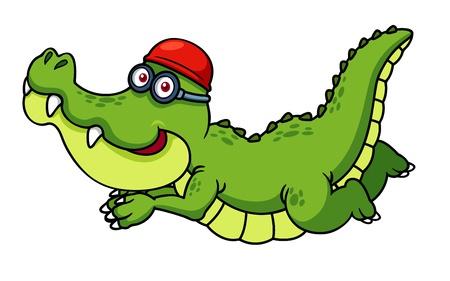 crocodile: ilustración de dibujos animados de la natación del cocodrilo Vectores