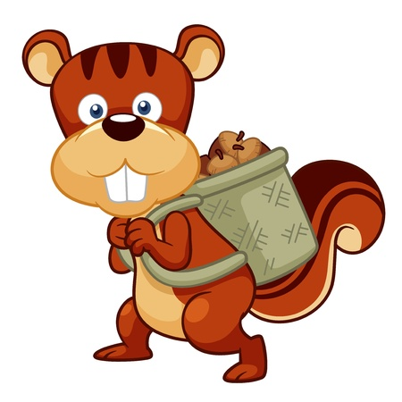 illustration of Cartoon squirrel hoard nuts Vector