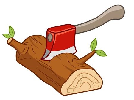 illustratie van Axe ingesteld op hout