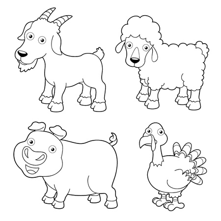 smiling goat: illustration of farm animals cartoon - Coloring book