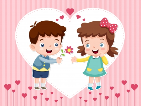 teenagers love: illustration of boy and girl