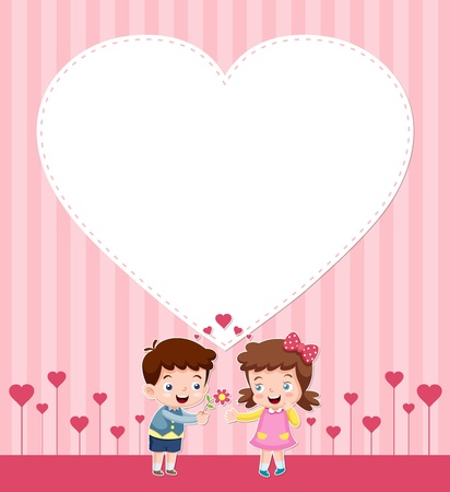 illustration of boy and girl with blank heart Vector
