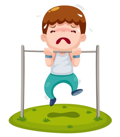 weighty: illustration of boy hanging single bar