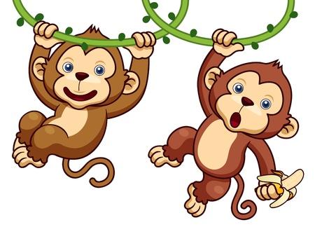 jungle jumping: Illustration of Cartoon Monkeys