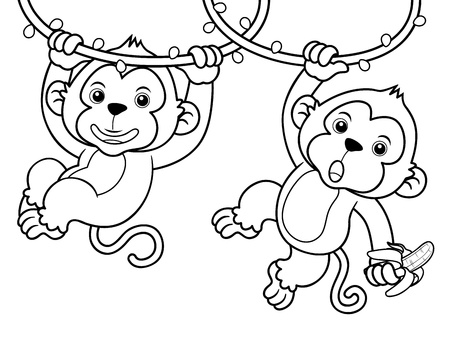 cartoon monkey: Illustration of Cartoon Monkeys - Coloring book