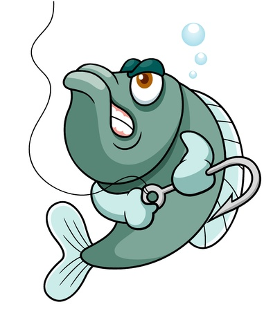 karikatuur: illustratie van vis met vishaak