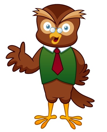 illustration of Cartoon Professor Owl Vector