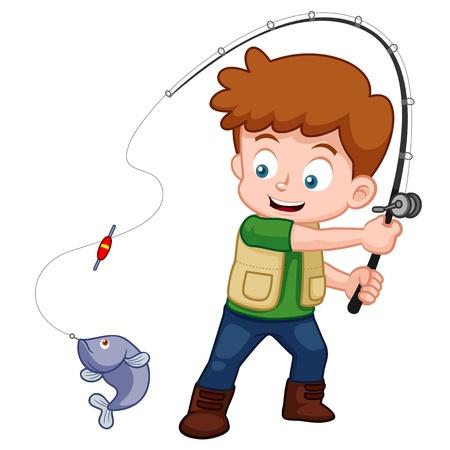 hombre pescando: ilustración de la pesca muchacho de la historieta Vectores
