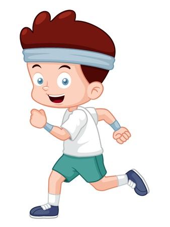schoolkid: illustration of Cartoon boy jogging