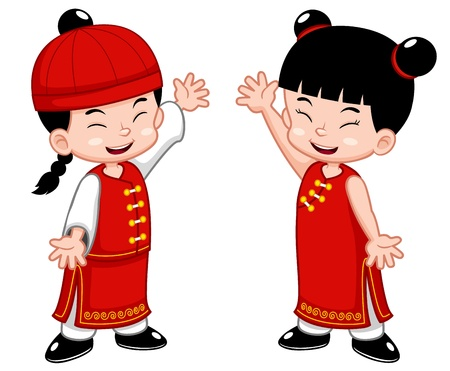 illustration of Cartoon Chinese Kids Vector